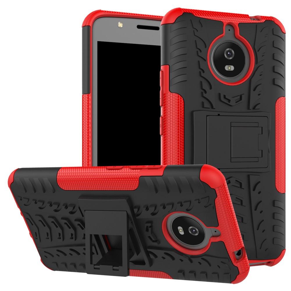 Чехол накладка для Motorola Moto E4 Plus XT1770 противоударный с подставкой, красный
