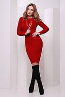 Платье вязаное № 135 красный р. 42-46