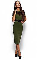 Жіноче ділове оливкове плаття Diana