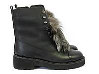 Зимние женские ботинки с мехом сверху, фото 1