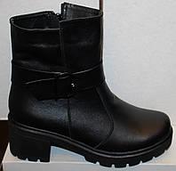 Женские кожаные сапоги на каблуке, сапоги на маленьком каблуке женские от производителя модель В1585