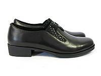 Кожаные женские туфли офис черные, фото 1