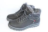 Кожаные зимние ботинки мужские, М151, черно-серые
