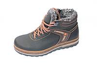 Кожаные зимние ботинки мужские, М151, черно-коричневые