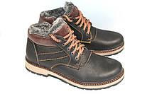 Зимние кожаные ботинки мужские, М215, черный-орех