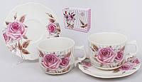 Чайный набор 4пр: 2 чашки 220мл, 2 блюдца Фарфор Розы