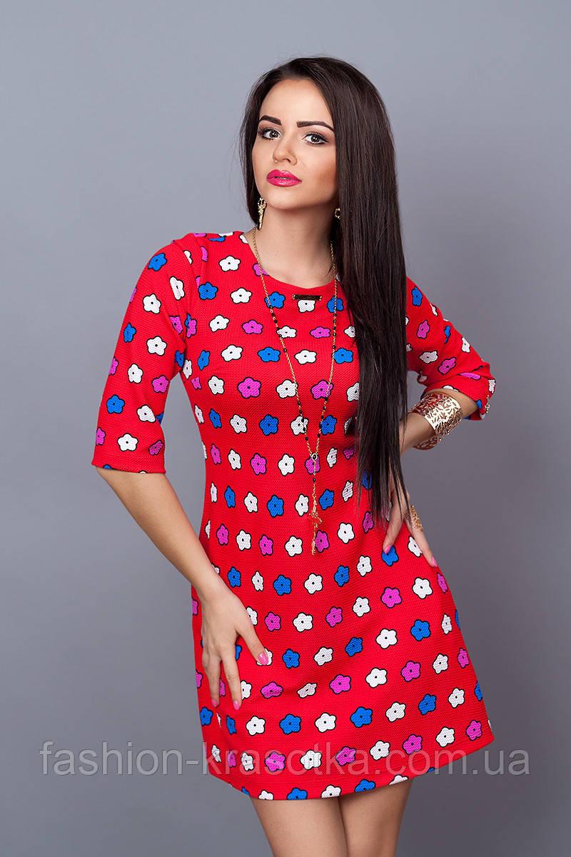 Яркое трикотажное женское платье. Размеры 42-48