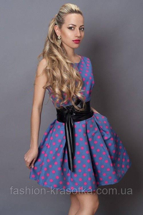 Модное женское платье с пышной юбкой в малиновый горошек - Интернет магазин