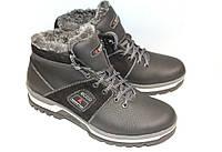 Зимние мужские ботинки в стиле спорт, М148, черно-серые
