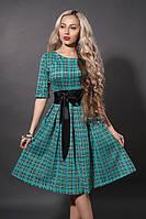 Стильное пышное платье с поясом в мелкую клеточку бирюзового цвета 46,50