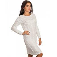 Теплое вязаное платье 3 цвета