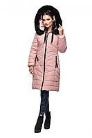 """Розовая удлиненная куртка из качественной плотной ткани """"Лана"""""""