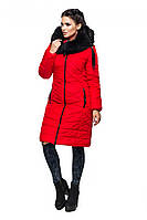 """Красная удлиненная куртка из качественной плотной ткани """"Лана"""""""