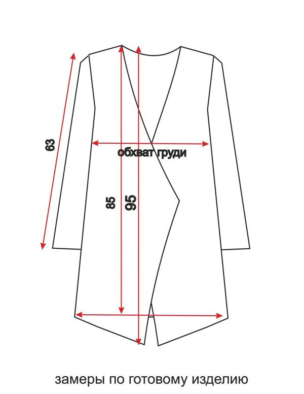 кардиган для женщин - схема - замеры по готовому изделию