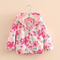 Детская куртка ветровка для девочки Розовые Цветы 90, 100, 110