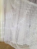 Тюль из фатина с вышивкой, код-700