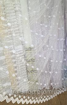 Тюль из фатина с вышивкой, код-262