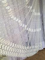 Тюль из фатина с вышивкой, код-1146, фото 1