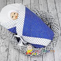 """Конверт-одеяло весна-осень """"Горох"""" синий мальчику Медисон"""