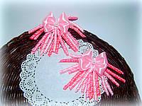 Резинки с бантиками со спиральками для волос из атласных лент ручной работы