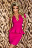 Классическое женское платье мини с баской . Разные цвета и размеры. Розница, опт., фото 1