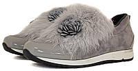 Стильные осенние ботинки серого цвета с мехом., фото 1