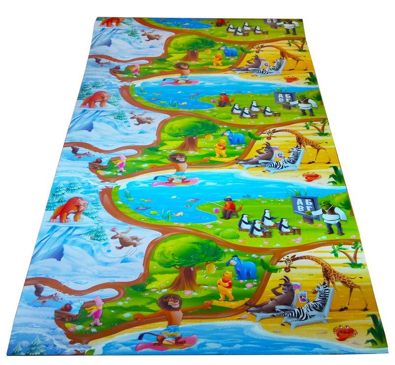 """Детский игровой коврик для ползания ребенка """"Мадагаскар"""" 2000x1200x8мм"""