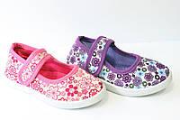 Текстильные  тапочки-мокасины на липучке для девочек в цветочек 30,31,32,33,34,35,36р.