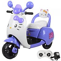 Детский мотоцикл Hello Kitty,на аккумуляторе с пультом р.у M 3563 BR-9