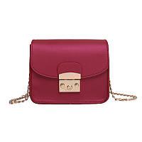 Женская сумочка мини на цепочке бордовая 850