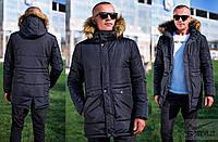 Теплая зимняя мужская куртка с капюшоном
