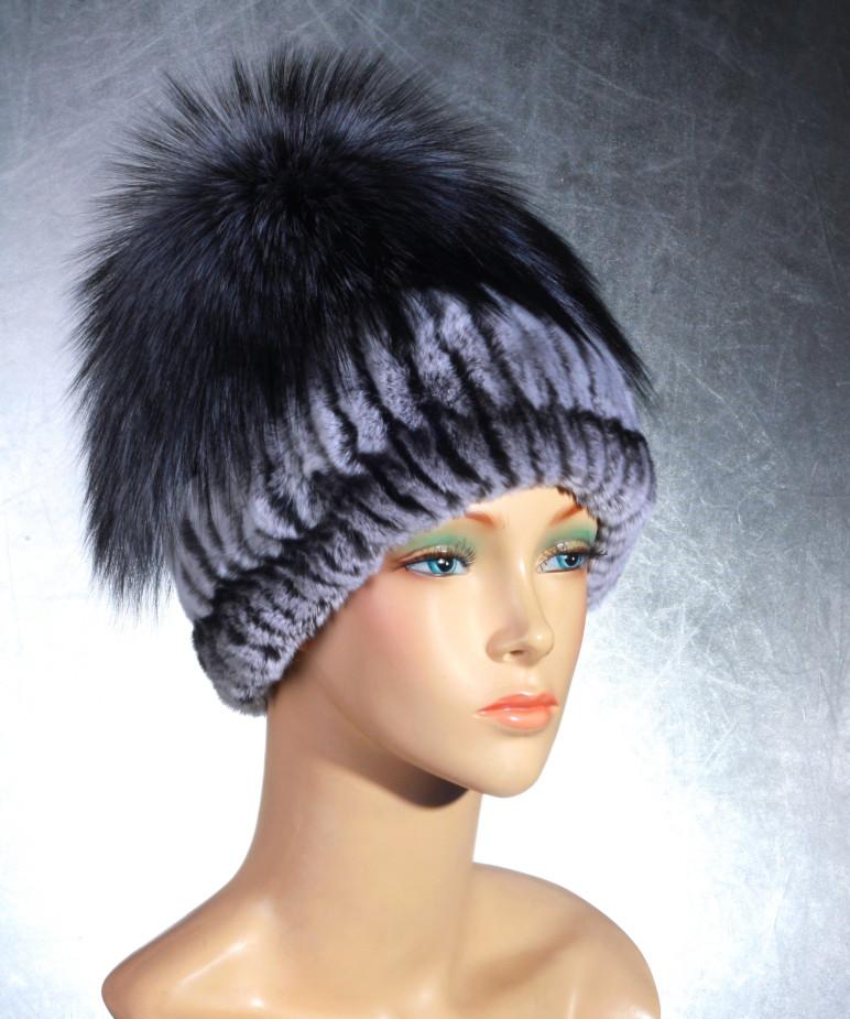 Женская меховая шапка Эдельвейс из рекса и чернобурки