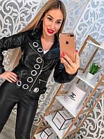 Женская стильная куртка-косуха из эко-кожи с люверсами