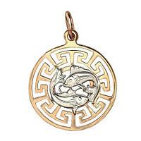 Золотая подвес знак зодиака Рыбы
