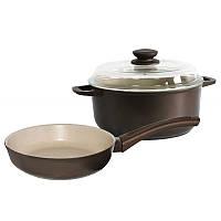 Набор посуды Мокко (сковорода 22 см и кастрюля 3л) с бежевым покрытием (М22ПС)
