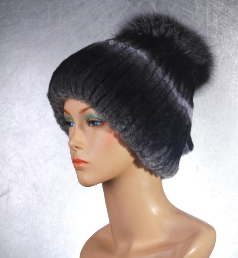 Женская меховая шапка Фонарик из рекса и песца