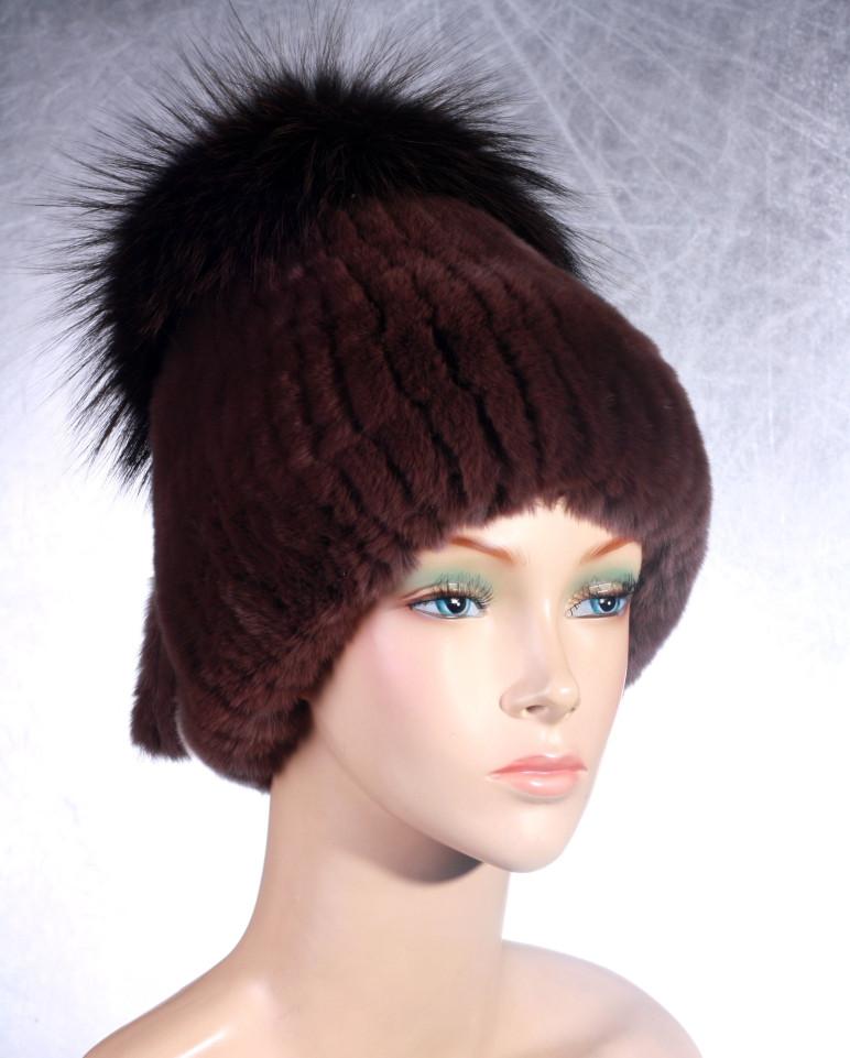 Женская меховая шапка Фонарик из рекса и чернобурки - Интернет Магазин