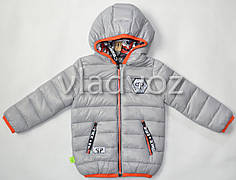 Детская двухсторонняя куртка ветровка на мальчика серая 2-3 года