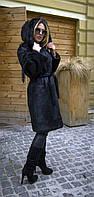 Шуба из натурального меха нутрии с капюшоном IF 025 черная