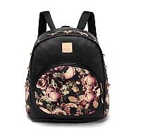 Рюкзак черный женский Розы код 3-304