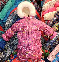Детский зимний комбинезон Тройка-конверт 3 в 1 Малиновый снеговик