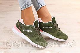 Модные кроссовки Reebok цвет хаки из натуральной замши