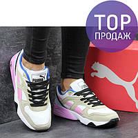Женские кроссовки Puma Trinomic, белые с розовым/ кроссовки женские Пума Триномик, удобные, стильные, легкие