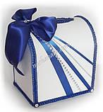 Свадебный сундучок, сине белый., фото 2