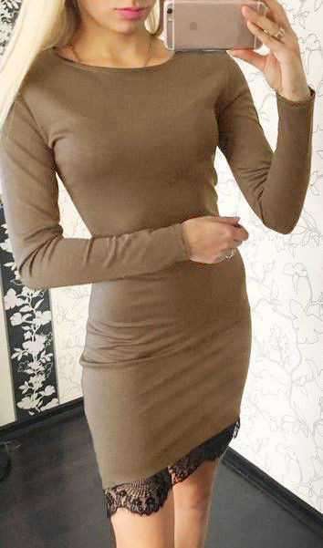 Платье футляр карандаш мини кружево низ капучино