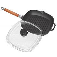 Сковорода чугунная гриль 260х260мм со съемной ручкой и стеклянной крышкой (Биол)