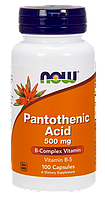 Пантотеновая кислота  Pantothenic Acid, Now Foods, 500 мг, 100 капсул