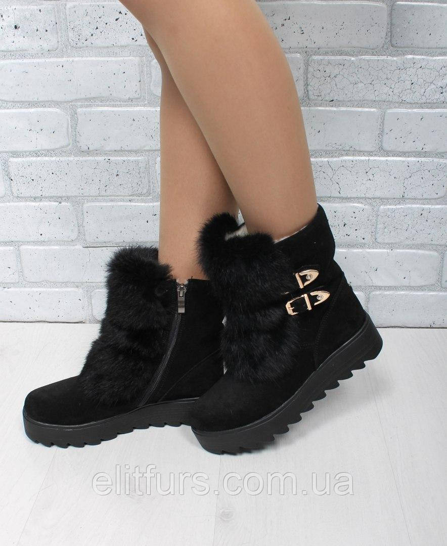 Женские зимние ботинки сверху натуральный мех