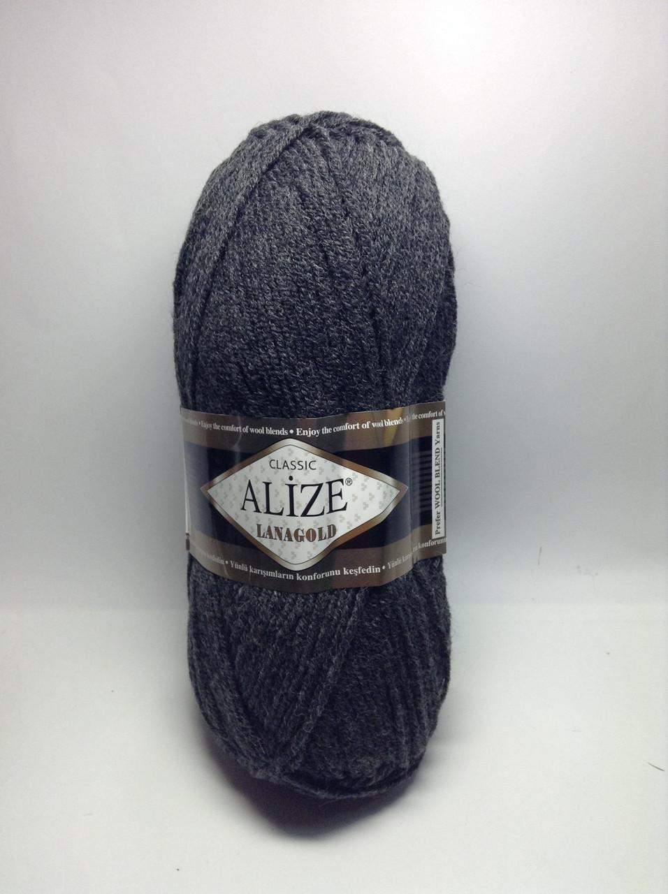 Пряжа lana gold - цвет темно-серый (антрацит)