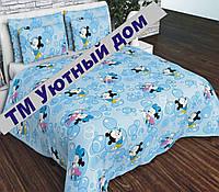 Детское постельное бельё в кроватку МиккиМаусы на голубом, фото 1